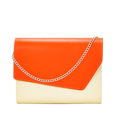 Orange Leather Edge Shoulder Bag - Shoulder Bag - Zatchels