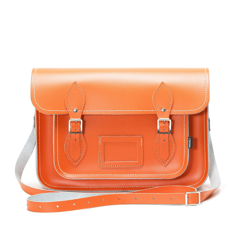 Orange Leather Satchel - Satchel - Zatchels