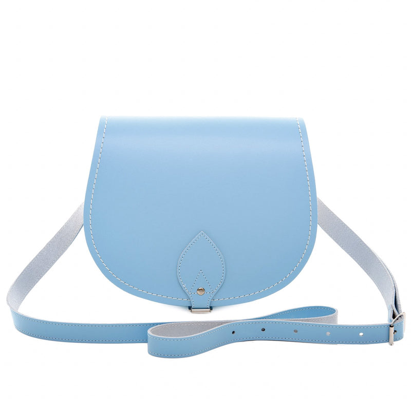 Pastel Baby Blue Leather Saddle Bag - Saddle Bag - Zatchels