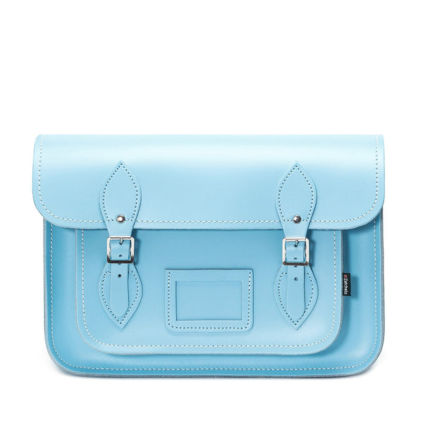 Pastel Baby Blue Leather Satchel - Satchel - Zatchels