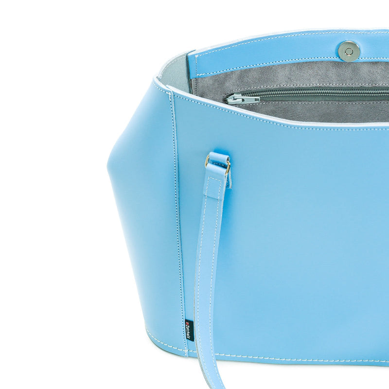 Pastel Baby Blue Leather Tote Bag - Tote - Zatchels