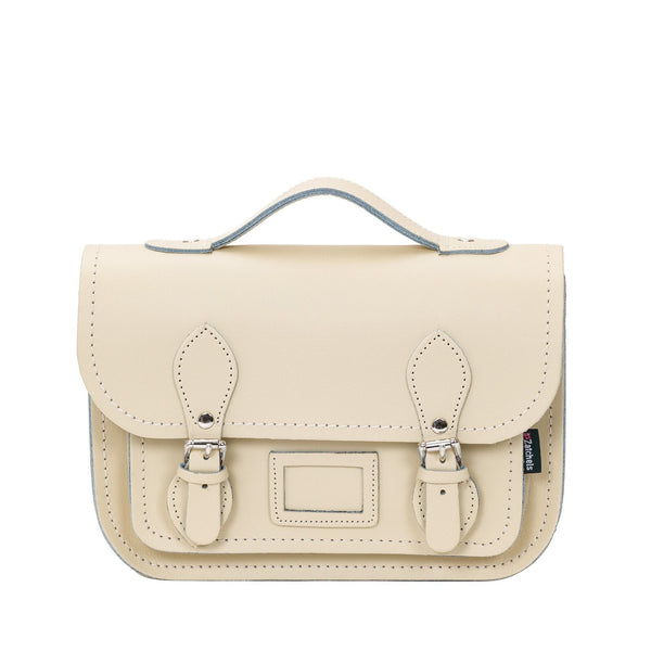 Pastel Cream Leather Midi Satchel - Midi Satchel - Zatchels