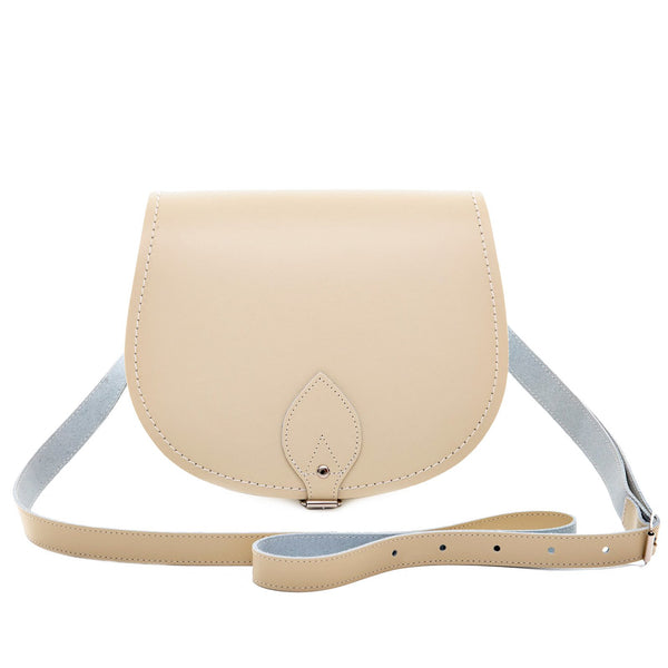 Pastel Cream Leather Saddle Bag - Saddle Bag - Zatchels