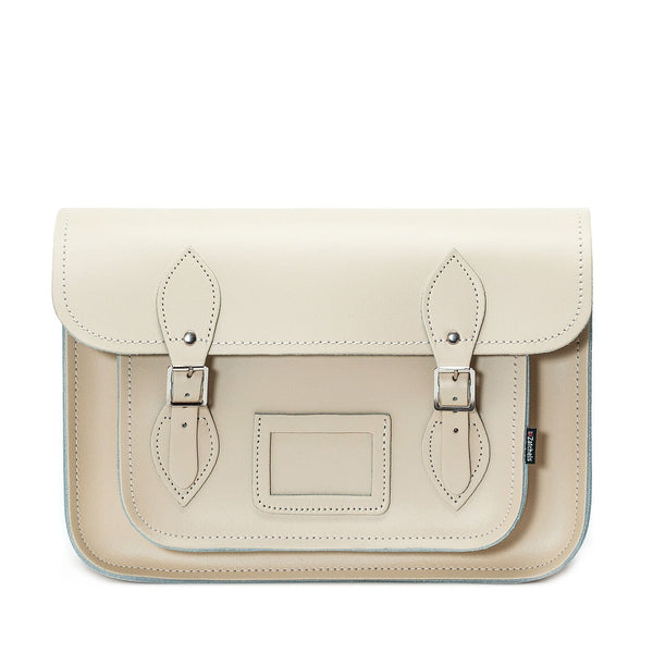Pastel Cream Leather Satchel - Satchel - Zatchels