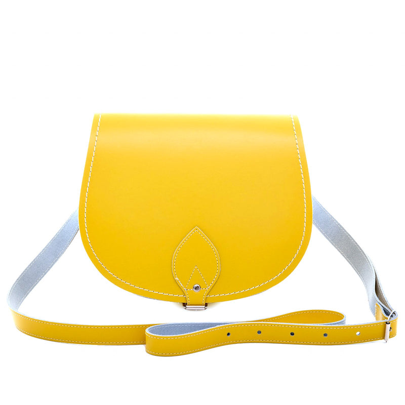 Pastel Daffodil Yellow Leather Saddle Bag - Saddle Bag - Zatchels