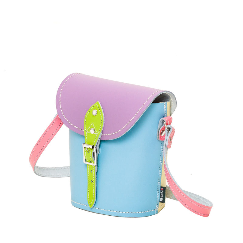 Pastel Kaleidoscope Leather Barrel Bag - Barrel Bag - Zatchels