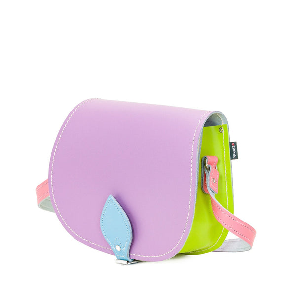 Pastel Kaleidoscope Leather Saddle Bag - Saddle Bag - Zatchels