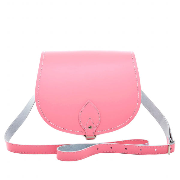 Pastel Pink Leather Saddle Bag - Saddle Bag - Zatchels