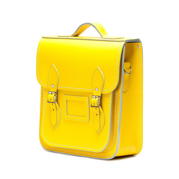 Pastel Daffodil Yellow Leather City Backpack - Backpack - Zatchels