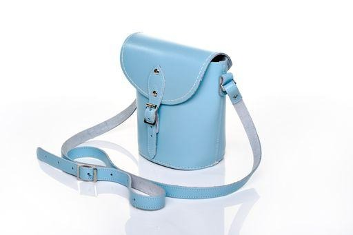 Handmade Leather Barrel Bag - Pastel Baby Blue