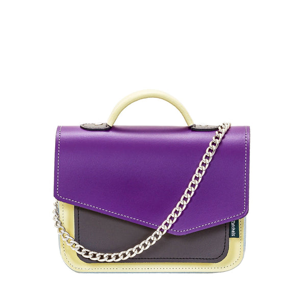 Purple Leather Edge Mini Cross Body Bag - Cross Body Bag - Zatchels