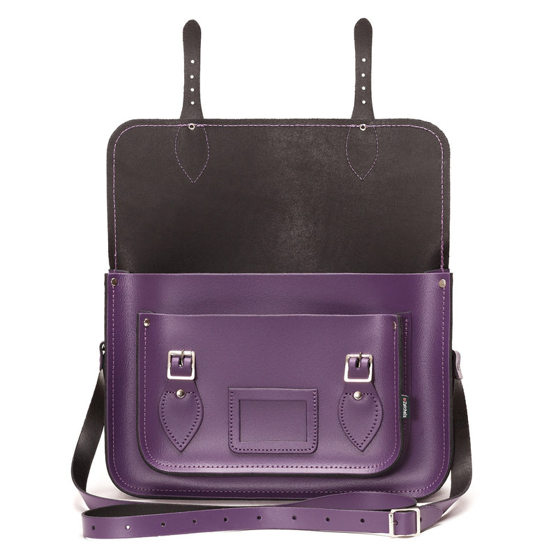 Purple Leather Satchel - Satchel - Zatchels