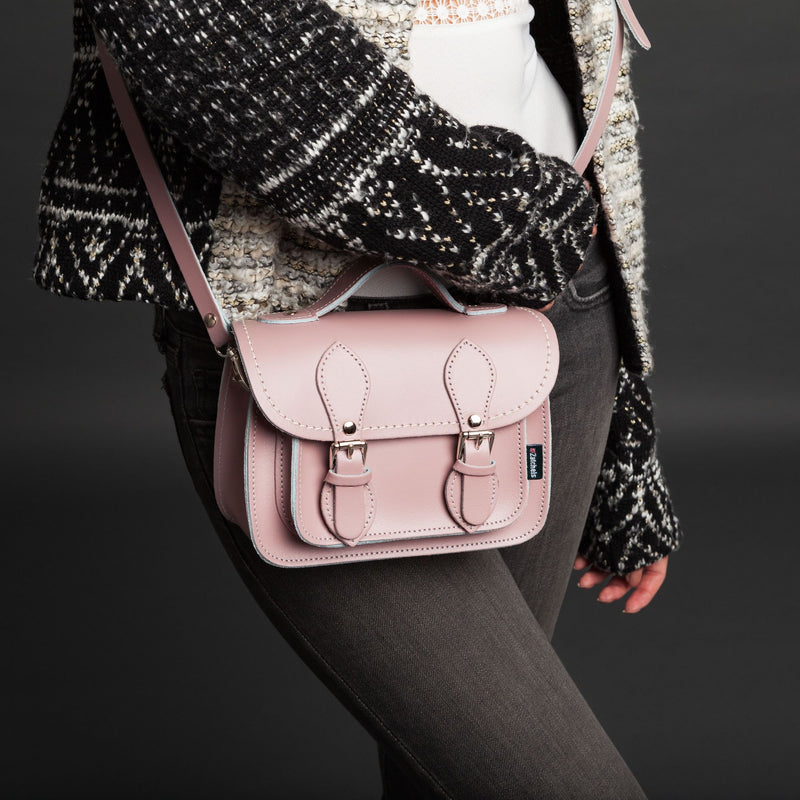 Handmade Leather Micro Satchel - Pastel Pink