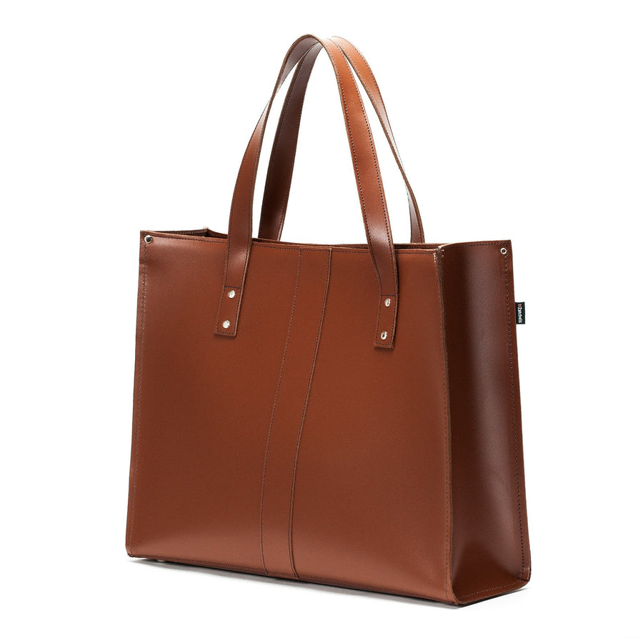 Chestnut Leather Shopper - Shopper - Zatchels