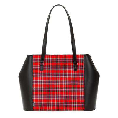 Red Tartan Leather Tote Bag - Tote - Zatchels