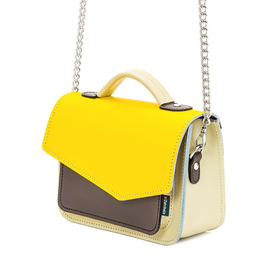 Yellow Leather Edge Mini Cross Body Bag - Cross Body Bag - Zatchels