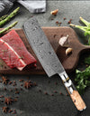 "Rose-Pattern Damascus Steel 7"" Cleaver-Utility Knife with Transparent Resin and Rosewood Handle - £75.97 + FREE Worldwide Delivery"