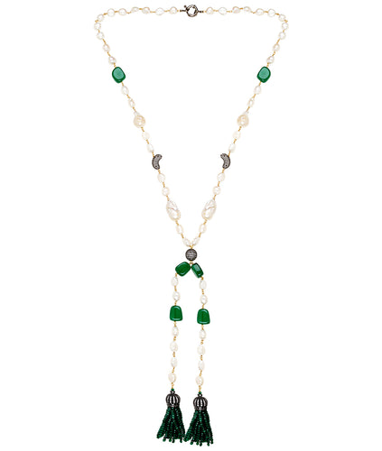Kate Baroque Tassel Necklace (green)