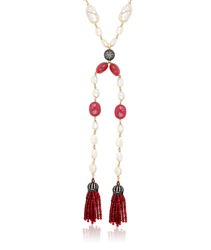 Kate Baroque Tassel Necklace (red)