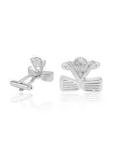 SILVER BALL & GOLF CLUBS CUFFLINKS