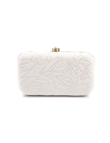 WHITE AND GOLD EMBOSS CLUTCH BAG