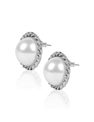 ARIANA PEARLY STUD EARRINGS - SILVER