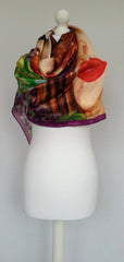 Bliss Flowerly Curly damsel Satin Silk Scarf