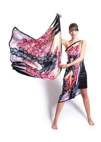 Fashion Geometry Curly Exaggeration Satin Silk Scarf