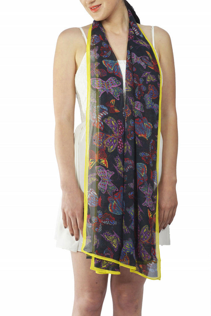 Butterfly Silk Georgette Stole