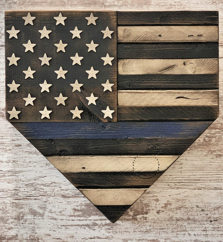 Blue Line American Flag Home Plate