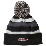 Barnwood Sports Design WM Logo Striped Beanie with Pom