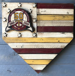 Custom American Flag Home Plate with Logo