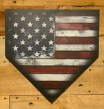 "Patented 17"" Printed Wood American Flag Home Plate"