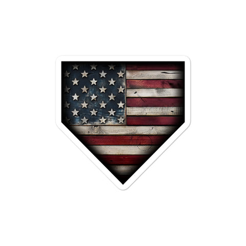Barnwood Sports Design Classic Americana Home Plate Bubble Free Sticker