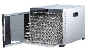 "Samson ""Silent"" 10 Tray Stainless-Body Dehydrator - Digital Controls - Glass Door"