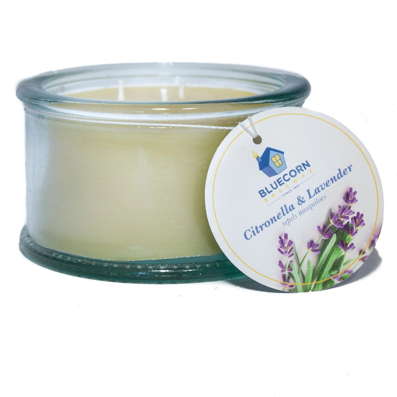 Citronella-Lavender - 3-Wick 100% Recycled Spanish Glass Candle