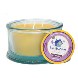 Beeswax candle, 3-wick, in Relaxing Aromatherapy. Pure Lavender essential oil and pure beeswax in 100% recycled spanish glass. Glass is light teal in color.