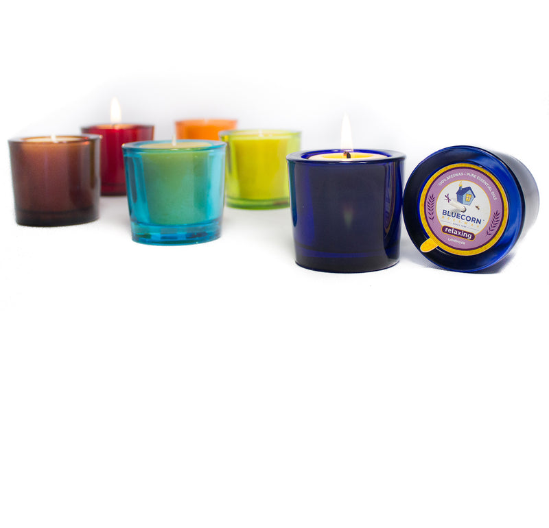 Aromatherapy Beeswax - Recycled Heavy Glass Votive Candle - Clearance