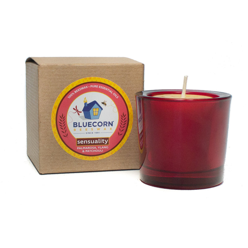 Aromatherapy Beeswax - Recycled Heavy Glass Votive Candle