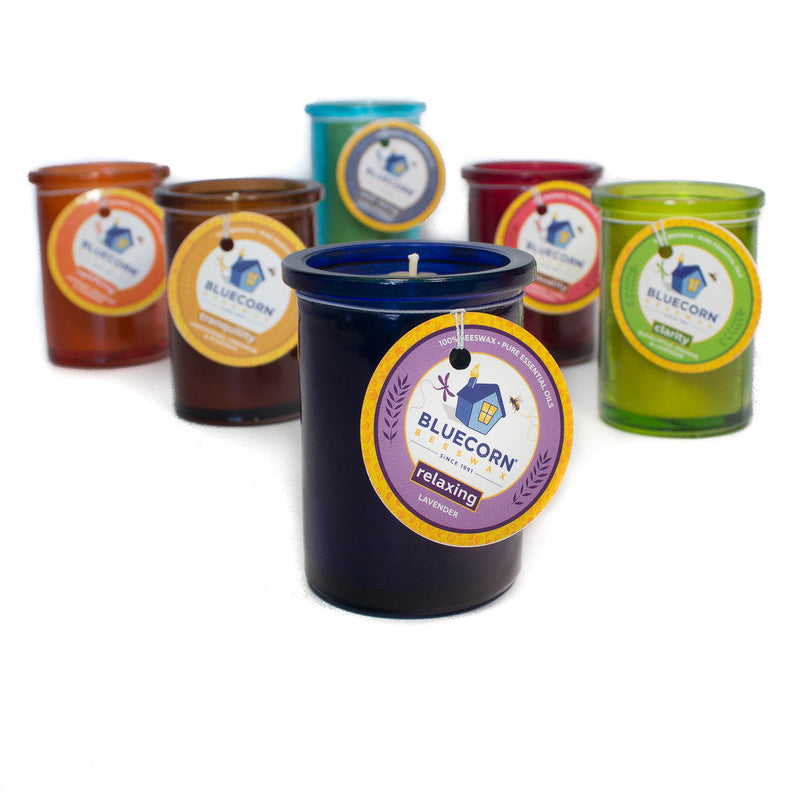 Aromatherapy Beeswax - Recycled Heavy Glass Candle - 6oz - CLEARANCE