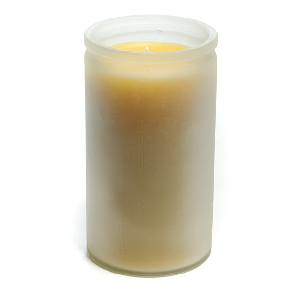 Bluecorn Beeswax 16oz Frosted Glass Candle. Glass is 50% recycled. Frosting gives a matte, contiguous appearance while still allowing for light to glow through. Candle is 3 inches wide and 5.5 inches tall.