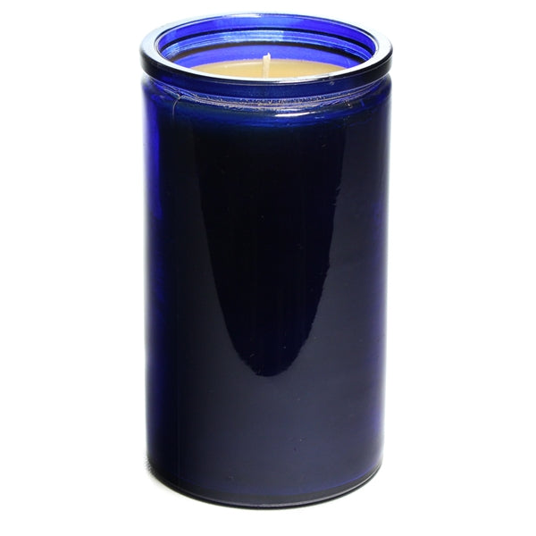 Bluecorn Beeswax 16oz recycled glass candle in dark blue. Candle wax is golden yellow. Candle measures 3 inches wide and  5.5 inches tall. Average total burn time is 85 hours.