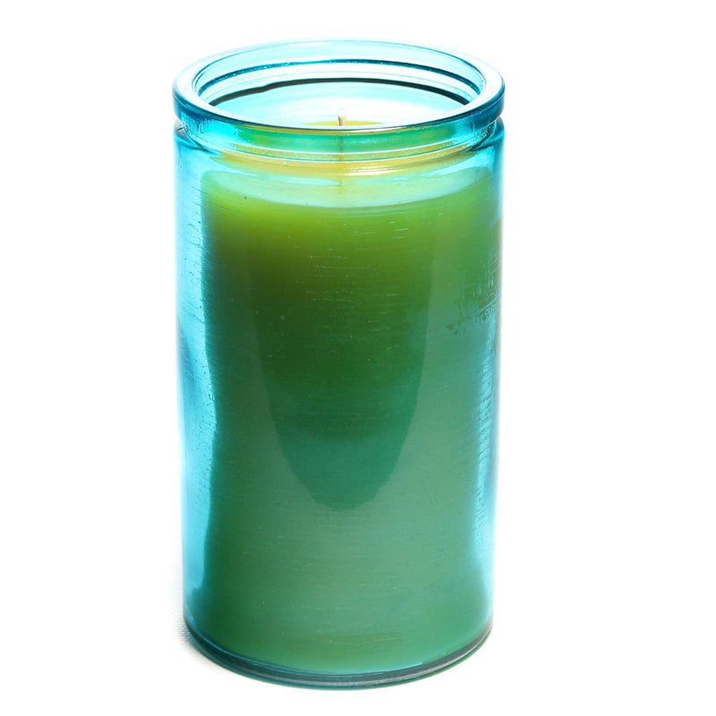 Pure beeswax candle in 16oz aqua glass. Candle measures 5 inches tall and 3 inches wide. Bluecorn Beeswax uses 100% pure beeswax and renewable electricity in the making of these candles.