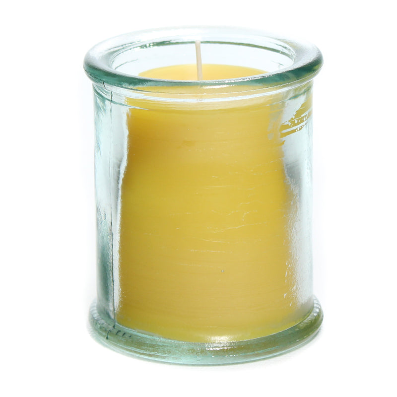 Raw, yellow beeswax candle in 100% recycled Spanish glass. Candle is 3 inches tall and 2.5 inches wide.