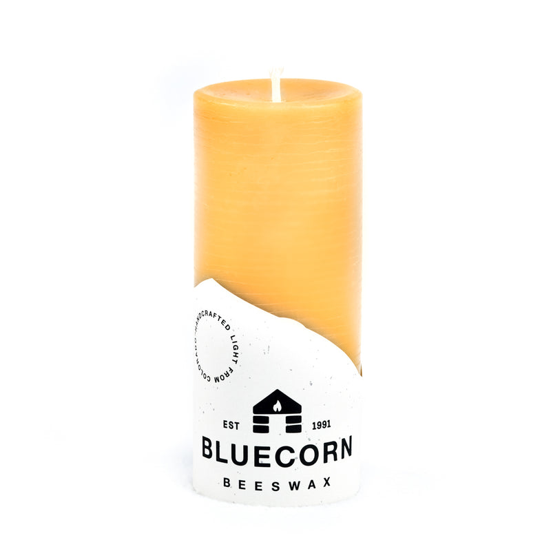Raw Beeswax Pillar from Bluecorn Beeswax. 2-inch diameter, 4.5-inch height. This candle is handmade in Colorado of 100% pure beeswax. Best for burns of no more than 90 minutes at a time.