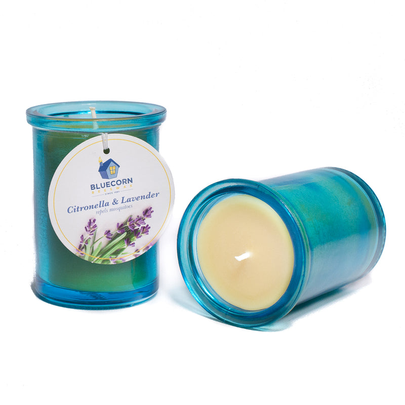 Citronella-Lavender - Heavy Recycled Glass Candle - 6oz