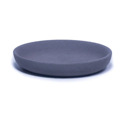 "Dark charcoal colored concrete pillar base. Candle holder is round and 4"" in diameter."