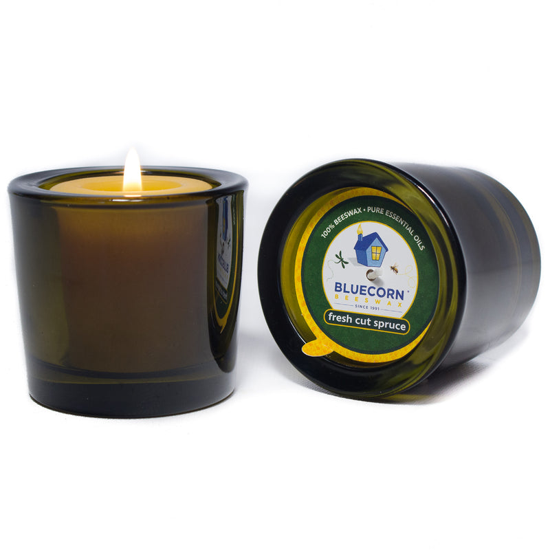 Holiday Beeswax - Recycled Heavy Glass Votive Candle