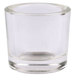 Clear votive glass candle holder made of 50% recycled glass