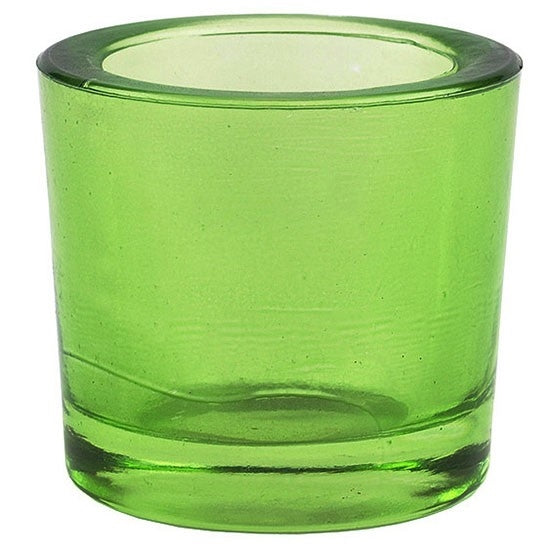 Lime recycled glass candle holder
